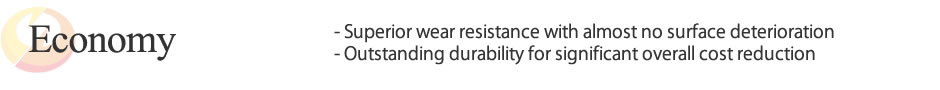 Economy / Superior wear resistance with almost no surface deterioration / Outstanding durability for significant overall cost reduction